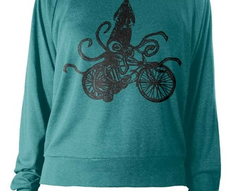 Womens Long Sleeve Lightweight Pullover - Squid Sweater - Bike Bicycle Sweatshirt - American Apparel Raglan