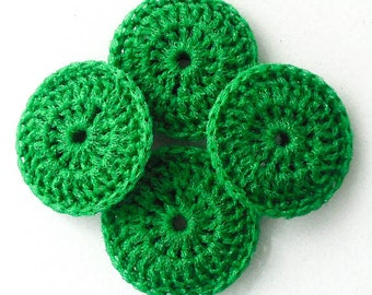Crochet Nylon Dish Scrubbie - Grass Green Scrubber - Set of 2 through 8 - Pot Scrubber