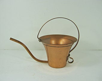 Vintage COPPER WATERING CAN Small Size Planter Vase Indoor Plants Garden