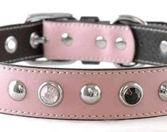 "Pink Dog Collar,  Ballet Pink with Pink Crystal, Black and Silver rivets. Waterproof dog collar, Will fit a 19"" to 21"" neck"