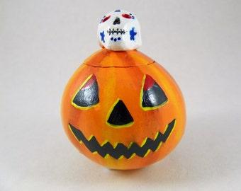 Pumpkin & Skull Trinket Box Gourd