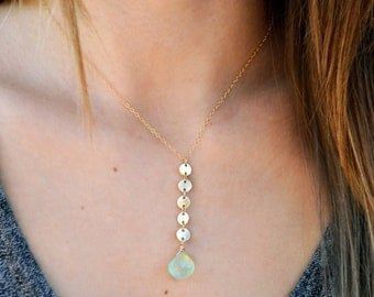 Gold Sequin Necklace, Sequin Necklace, Y Lariat Necklace, Aqua Chalcedony Sequin Necklace, Gold Coin Choker, 14kt Gold Fill Choker