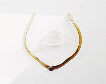 SALE // Vintage 1950s Brass Choker Jewelry Necklace //  Mid Century Modern Bohemian Wedding