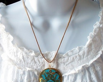 Teal Blue Necklace Gold Medallion flowered Tan faux leather cord gold clasp
