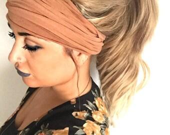 Cognac Scrunch Headband, Extra Wide Headband, Jersey Headband, Extra Wide Jersey Headband, (women, teen girls)