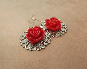 Red Rose on Silver Filigree Earrings/Victorian/Valentines Day
