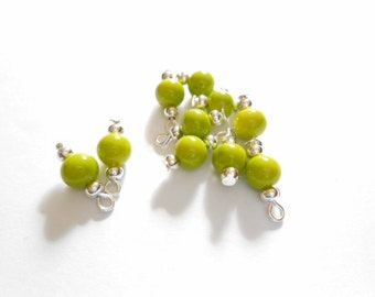 Lime Green Opaque Dangle Beads