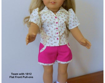 """1806 Valspierssews Doll Clothes Pattern, Fits Popular 18"""" Dolls, Open Neck Blouse with Fashion Details, Easy Collar"""
