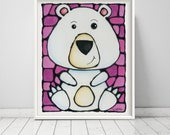 Polar Bear Print Pink - Nursery Art - Zoo Animal Art - White Polar Bear on a Pretty Pink Background - Hand Signed by Artist Kathy Lycka