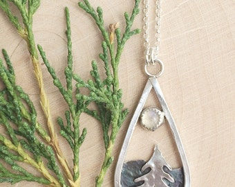 SALE Moonstone Tree and Mountain Landscape Necklace | Nature Jewelry | Silver Jewelry | Tree Jewelry | Mountain Necklace