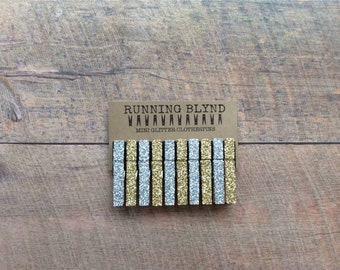 Silver and Gold Glitter Clothespins. Silver Glitter Clothespins. Wedding Decor. Gold Glitter Clothespins. Party decor. Mini Clothespins.