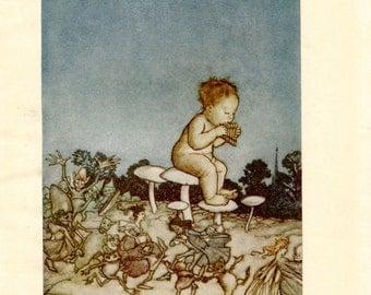 Vintage Print Peter Pan by Arthur Rackham Illustration for Children Nursery Wall Art