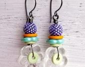 Handmade stacked bead earrings in mint, lilac, turquoise and sherbet orange; glass, rubber and ceramics - Songbead UK, narrative jewelry