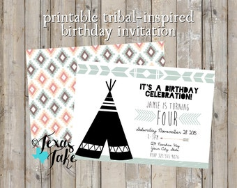 Teepee Boy or Girl Invitaiton / Modern Birthday / Print Your Own Invitation / Turquoise, White & Black Teepee Invite / Printable Design