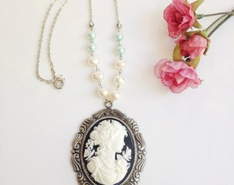 Cameo necklace, statement necklace, black and white, real pearls, crystals, cottage shabby chic, romantic, pretty, spring fashion, steampunk