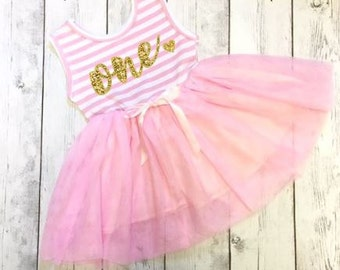 Girls Birthday Dress, Personalized Birthday Dress, First Birthday Dress, Girls Birthday Dress, 1st Birthday, Gold Glitter Birthday Dress