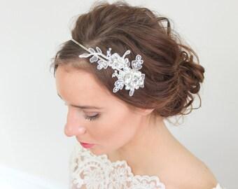 French Lace Crystal Rhinestone Headband Bridal Wedding Accessories
