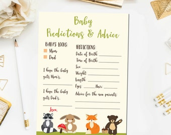 Woodland Baby Predictions and Advice, Rustic Baby Shower Games, Woodland Baby Shower Games Printable Instant Download BB4