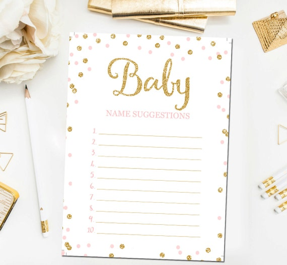Baby Name Suggestions, Baby Shower Game, Baby Shower Printable, Baby Names, Baby  Name Game Pink Gold Baby Shower Games, Instant Download BB1