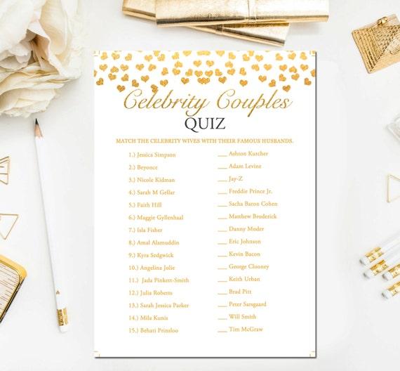 Celebrity Wedding Trivia Questions: Gold Bridal Shower Games Celebrity Couples Quiz Bridal Shower