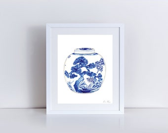 Blue and White China Porcelain Ginger Jar Vase No. 9 -  Print of Watercolor - Chinoiserie Chinese Antique Ceramics Ming Vase