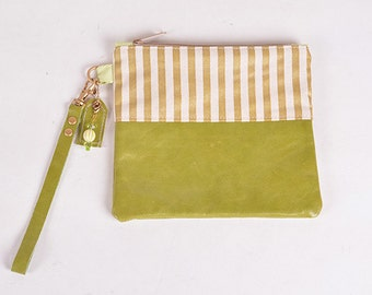 Green & Gold Stripe Wristlet Clutch-Large