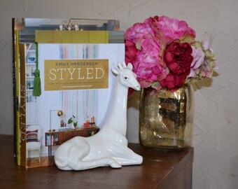 Giraffe Bookends Nursery Decor Fitz and Floyd White Ceramic Giraffes Giraffe Figurines Safari Nursery