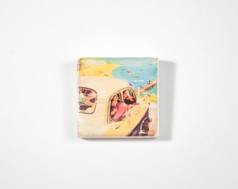 Vintage Beach Art, Art Blocks, Boho Art, Wood Printing, Wood Block Art, Small Art, Beach Camping Print, Vintage Car