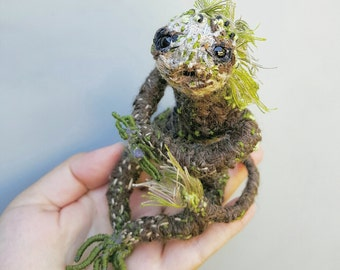 Art doll, creepy cute, posable monster, curio collectible, oddity lovers, strange doll, one of a kind, fiber sculpture, creepy creature
