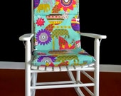 Rocking Chair Cushion Cover - Mbali Black / Light Blue, Ready to Ship