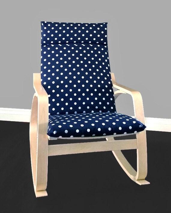 Navy Polka Dot Poang Chair Cover