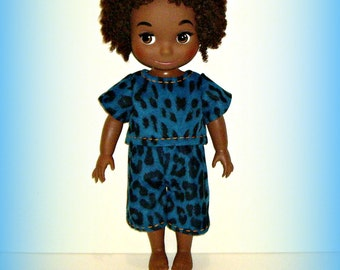 """Pajama Top and Pants, Handmade Animal Print PJs for 16"""" Disney Animator Dolls, Doll Clothes in Cozy Flannel Fabric by traveller240"""