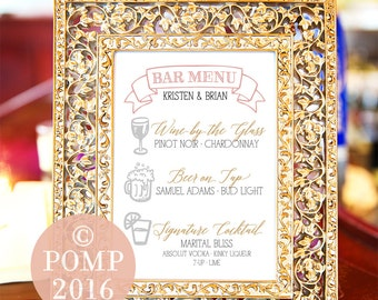 Printable Wedding Bar Menu -- Hand drawn Icons, Calligraphy, Illustration, Blush Pink Gold Black Gray, Rustic, Chalk