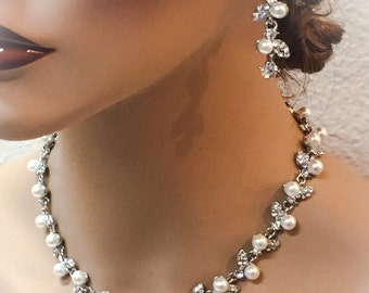 Bridal necklace earrings , Bridal back drop necklace , vintage inspired crystal pearl bridal statement, bridesmaid jewelry