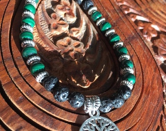 TREE OF LIFE Essential Oil Diffuser Necklace with Malachite & Lava Stone, Midwife Gift, Doula Gift, Birth Gift, Pregnancy Gift