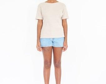 90s Beige Striped Rib-Knit T-Shirt / Grunge Tee