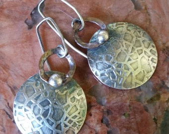 Sterling Silver & Copper Earrings, Metalsmithed, Handmade, Hand Forged, Textured w/Hammer and Rolling Mill