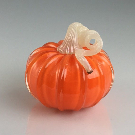 "4"" Glass Pumpkin by Jonathan Winfisky -Retro Opaque Orange - Hand Blown Glass"