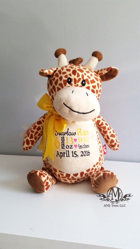 Personalized baby announcement stuffed giraffe monogrammed baby il570xn negle Choice Image