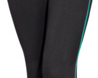 Teal Black YOGA Crop LEGGINGS Tights / 28.00 / FREE usa Ship 1-3 Days / Casual Pant / Capri Pant / Stretch Pant / Hurry on Sale Only 2 left