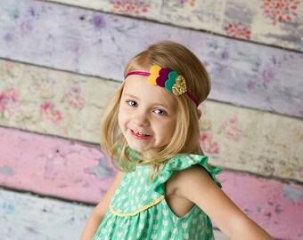Glitter Heart Headband,Gold Heart Headband,Mint Rose Petal Pink Yellow,Newborn,Toddler,Baby,Girls,Felt Heart Headband,Spring Heart Headband