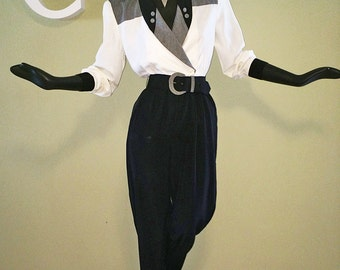 Vintage 80s New Wave Jumpsuit 80s does 40s Black & White Color Block Padded Shoulder Pads Peg Leg High Waist Waisted Dress Alternative Small
