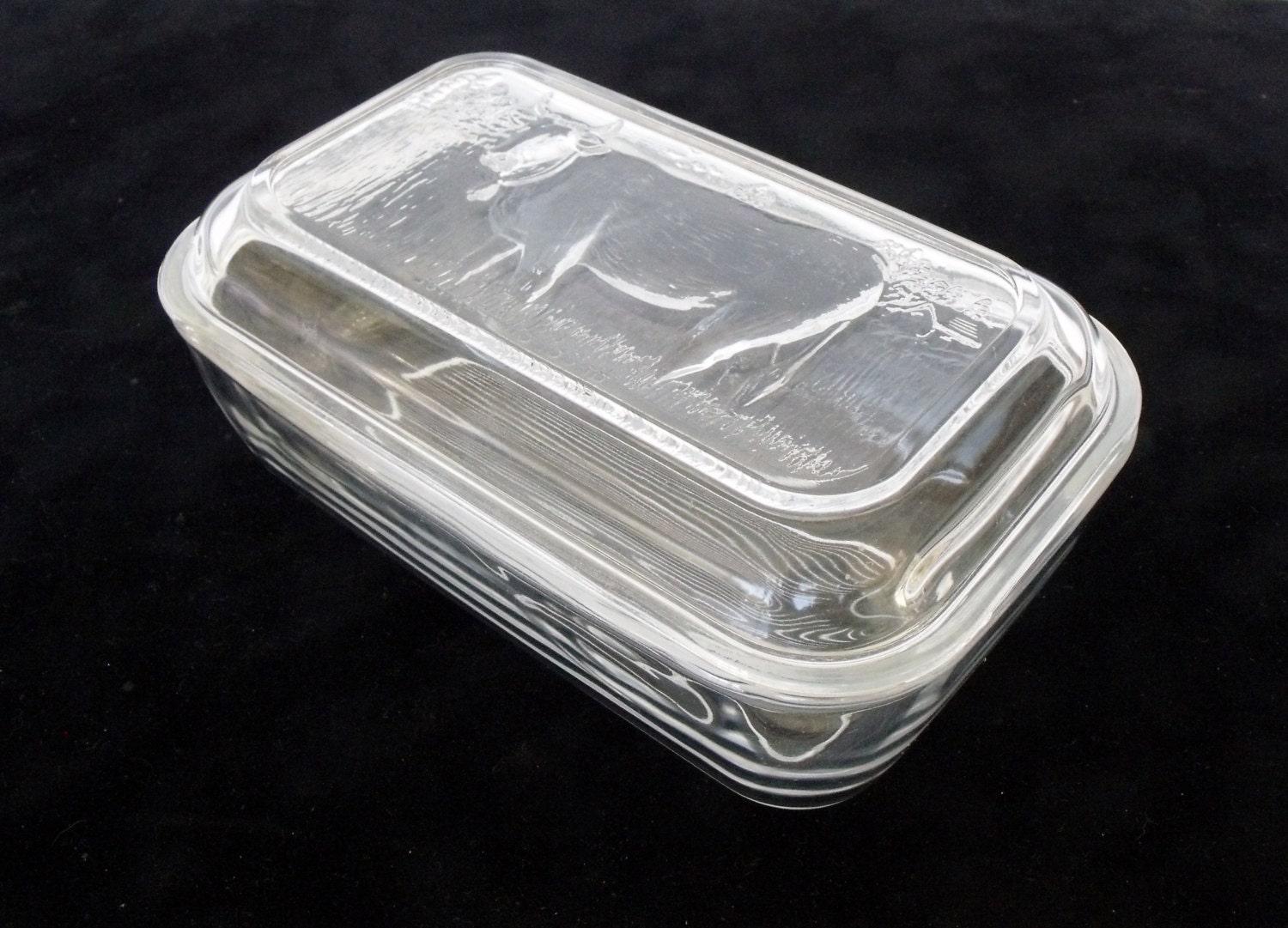 Cow Glass Refrigerator Dish With Lid France Butter Cheese