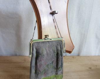 Antique Dresden Mesh Bag, Vintage Purses, Mesh Whiting and Davis Co Vintage Chain Purse