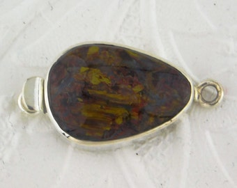 OOAK Pietersite Box Clasp Sterling Silver Single Strand Statement Jewelry Design 34x17mm Freeform Stone Cab