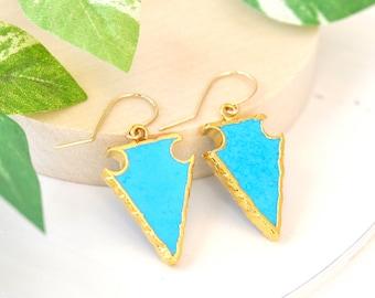 SALE: Arrow Head Turquoise earrings, Turquoise Earrings, Teal Blue Stone earrings, Large gemstone earrings, Turquoise Gold Earrings
