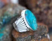 Massive Royston Turquoise Sterling Hand Stamped And Tooled Clam Shell Southwestern Ring (Reserved for Sarah M.)