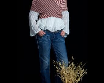 Wool shawl wrap scarf hand knitted new wool yarn, pink white rose brick