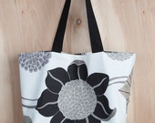 Flower Power Tote- Cotton Tote- Black and white- Black and white stripe- by beckyzimmdesign