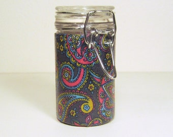 Small Glass Stash Jar : Latch Top Jar - Pink Blue Bright Fun Flower Paisley